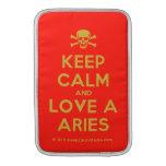 [Skull crossed bones] keep calm and love a aries  MacBook Air sleeves