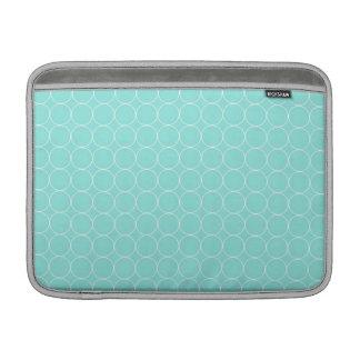 Macbook Aqua White Circles Pattern MacBook Sleeves