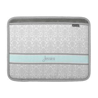 Macbook Blue Gray Damask Custom Name MacBook Air Sleeves