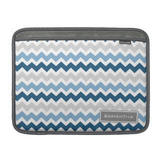 Macbook Blue Ombre Chevron Custom Name MacBook Air Sleeves