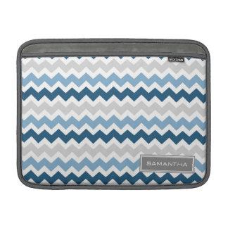 Macbook Blue Ombre Chevron Custom Name MacBook Sleeve