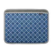 Macbook Blue Quatrefoil Pattern MacBook Sleeve