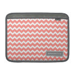 Macbook Coral Chevron Custom Name MacBook Air Sleeves