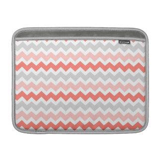 Macbook Coral Grey Chevrons Pattern MacBook Sleeve