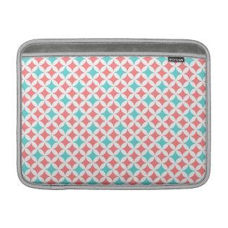 Macbook Coral Teal Geometric Pattern MacBook Sleeve