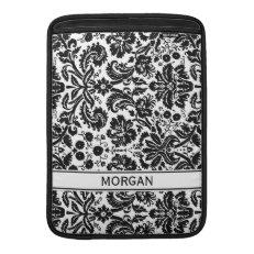 Macbook Custom Black Damask Pattern Sleeve For MacBook Air