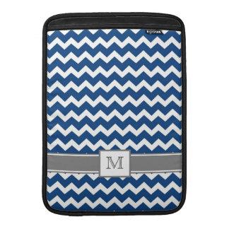 Macbook Custom Monogram Grey Blue Chevrons MacBook Sleeve