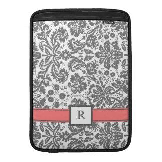 Macbook Custom Monogram Grey Coral Damask Sleeves For MacBook Air