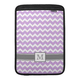 Macbook Custom Monogram Grey Lilac Chevrons Sleeve For MacBook Air