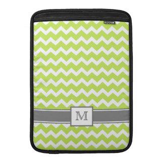 Macbook Custom Monogram Grey Lime Chevrons MacBook Air Sleeve