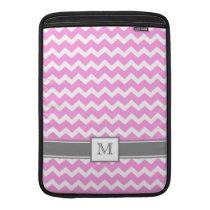 Macbook Custom Monogram Grey Pink Chevrons MacBook Air Sleeve