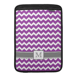 Macbook Custom Monogram Grey Purple Chevrons MacBook Sleeves