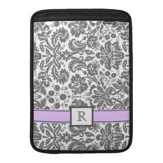Macbook Custom Monogram Grey Purple Floral Damask MacBook Air Sleeve