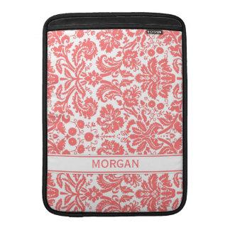 Macbook Custom Name Coral Floral Damask Pattern MacBook Sleeve