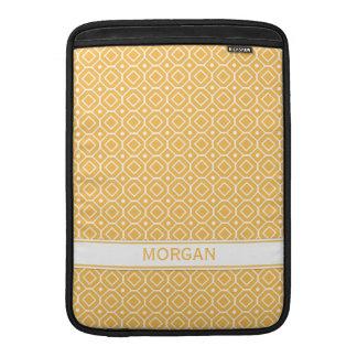 Macbook Custom Name Orange Geometric Pattern MacBook Sleeve