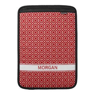 Macbook Custom Name Red Geometric Pattern MacBook Sleeves