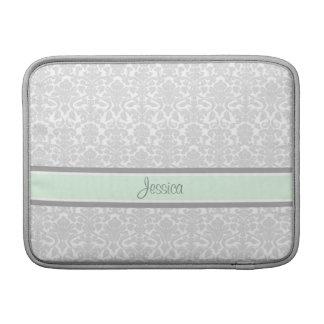 Macbook Mint Damask Custom Name MacBook Sleeve