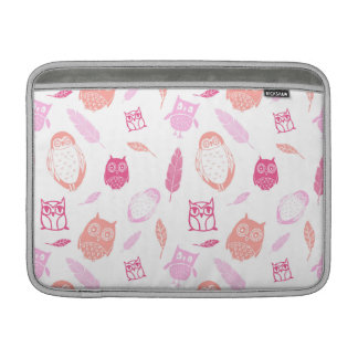 Macbook Owls Feathers Pattern Pink Sleeve For MacBook Air