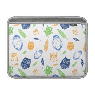 Macbook Owls Navy Blue Orange Lime MacBook Sleeve