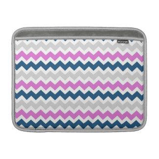 Macbook Pink Blue Grey Chevrons Pattern MacBook Sleeve