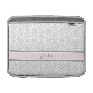 Macbook Pink Damask Custom Name MacBook Sleeve