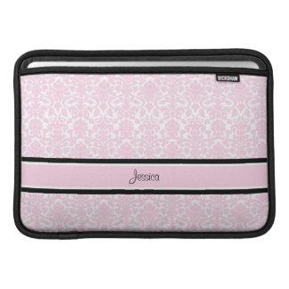 Macbook Pink Damask Custom Name Sleeve For MacBook Air