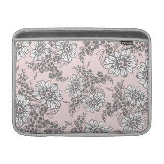 Macbook Pink Gray Floral Pattern Sleeve For MacBook Air