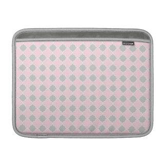 Macbook Pink Grey Quatrefoil Pattern Sleeves For MacBook Air