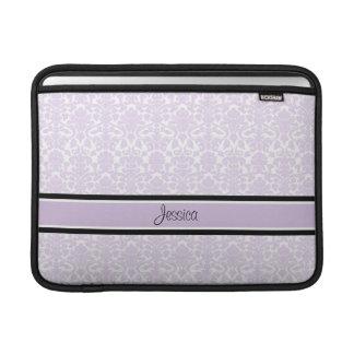 Macbook Violet Damask Custom Name MacBook Sleeve