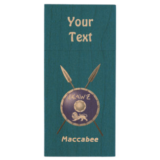 Maccabee Shield And Spears Wood USB 2.0 Flash Drive