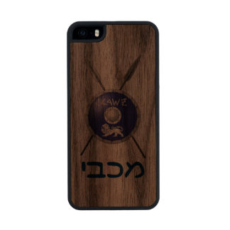 Maccabee Shield And Spears Carved® Walnut iPhone 5 Slim Case