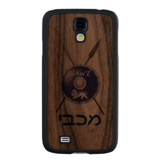 Maccabee Shield And Spears Carved® Walnut Galaxy S4 Slim Case