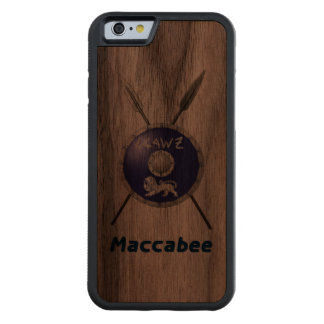 Maccabee Shield And Spears Carved® Walnut iPhone 6 Bumper