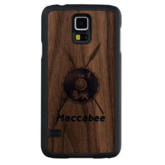 Maccabee Shield And Spears Carved® Walnut Galaxy S5 Slim Case