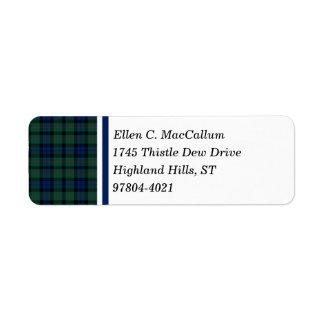 MacCallum Clan Dark Blue and Green Scottish Tartan Label