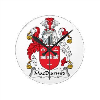 MacDiarmid Family Crest Round Clocks