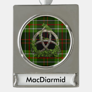 MacDiarmid Tartan And Celtic Trinity Knot Silver Plated Banner Ornament