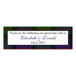 MacDonald McDonald Tartan Wedding Favour Tags Business Card