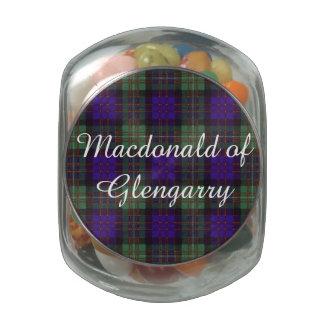 Macdonald of Glengarry clan Plaid Scottish tartan Glass Candy Jar