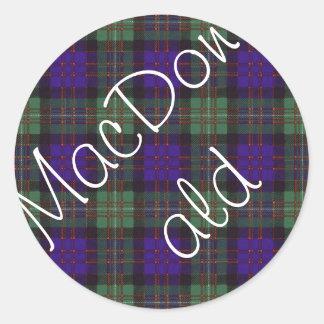 MacDonald of Glengarry Scottish Tartan pattern Stickers