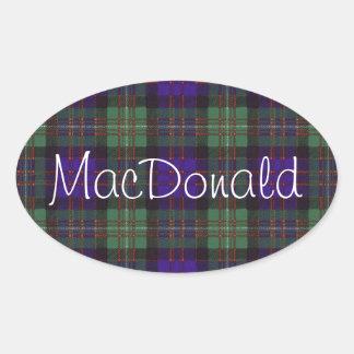 MacDonald of Glengarry Scottish Tartan pattern Oval Stickers