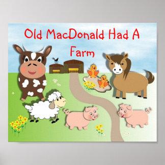 MacDonald viejo tenía una imagen animal de los niñ Póster
