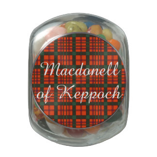 Macdonell of Keppoch clan Plaid Scottish tartan Glass Candy Jar