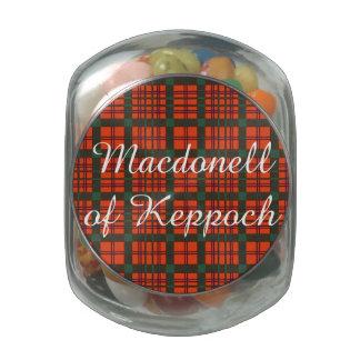 Macdonell of Keppoch clan Plaid Scottish tartan Glass Candy Jar