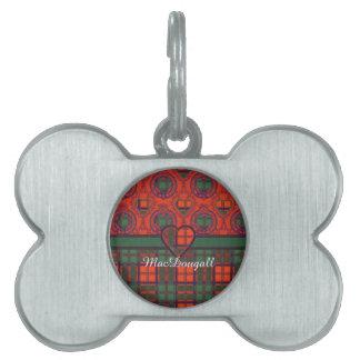 MacDougall clan Plaid Scottish kilt tartan Pet Name Tag
