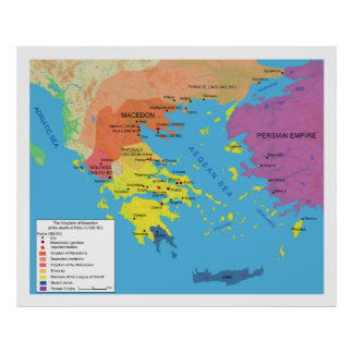 Macedon Map at the Death of Philip II 336 B.C. Poster