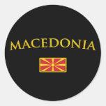 Macedonia de oro pegatina redonda
