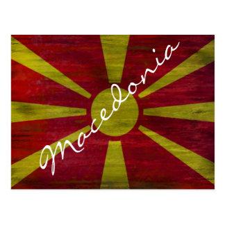 Macedonia distressed flag postcard