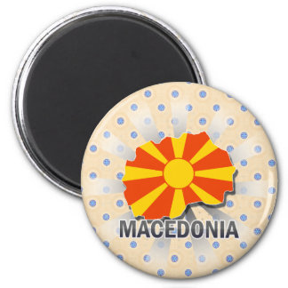 Macedonia Flag Map 2.0 2 Inch Round Magnet