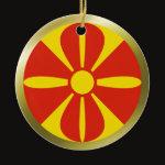 Macedonia Fisheye Flag Ornament